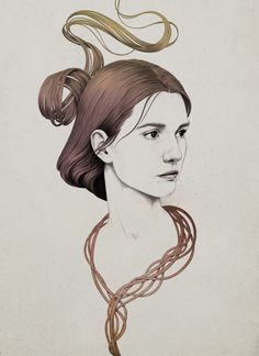 Portrait Illustrations by Diego Fernandez || note: reminds me of a Virginia Wolfe portrait