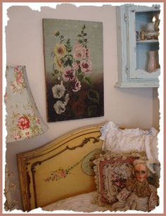 Great Victorian Sunday painting and love the lamp and headboard