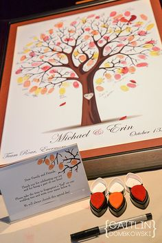 Fall Wedding idea - Guests put fingerprints on a tree as a guestbook! Its already framed and ready to be hung as wall art for years to come! great idea. From Etsy and the name of the shop was yourkeepsakeco from Arlington VA. They did a great job!