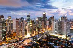 Stock Photo : Makati skyline at dusk, Manila, Philippines Intramuros, Makati City, Manila Philippines, Business Class, City Photography, Istanbul Turkey, Travel Deals, Dusk, San Francisco Skyline