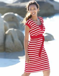 Tie Waist Jersey Dress in Red / White Stripe by Pepperberry