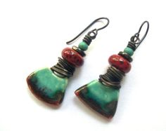 Rustic, Funky, Colorful, Casual Dangle Earrings, Scorched Earth Wedges, Turquoise Red Black Niobium Ear Wires