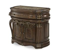 Michael Amini - AICO Oppulente Sienna Spice Bedside Chest - Nightstands and Bedside Tables Solid Wood Furniture, Bed Furniture, Luxury Furniture, Furniture Design, Library Furniture, Bedside Chest, Bedside Tables, Wood Table Design, World Decor