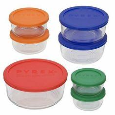 Pyrex 1081886 14pc Storage Set W Colored BPA Free Lids By 3044