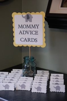 Please review my lead time prior to purchasing to make sure I can accommodate your party date. My lead time is listed by the shipping charges. Listing includes the Mommy Advice Cards Buffet Sign -$12.00 24 Elephant Advice Cards which measure about 2 x 3. The cards are blank inside. $24.00 Ask your guests to leave some words of wisdom for the mom to be at her baby shower. Lastly, if you would like any modifications made to this listing please contact me PRIOR to purchasing and I will revise…
