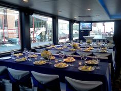 Wedding setup for WCIU news segment on Mystic Blue - Vista Deck.  Yellow, blue, and white!