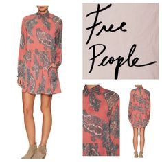 """Free People Forget Me Not Chiffon Dress.  NWT. Free People Forget Me Not Chiffon Moonstruck Dress, 100% rayon, washable, 20"""" armpit to armpit (40"""" all around), 19"""" arm inseam, 34"""" length, sheer, 70's inspired mini with statement paisley print and smock mock neck and cuffs, flows silhouette with button back, hip pockets, detachable slip lining, measurements are approx.  Truest color is fourth pic frame.  No Trades... Free People Dresses Mini"""
