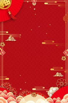 new year red three dimensional flower chinese style