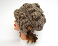 Taupe Cloche - Knit Hat With Button - Women's Cloche - Flapper Hat - Asymmetrical Cloche - 1920s Cloche Hat - Ruched Hat - Chunky Headwear by BettyMarieJones on Etsy