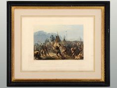 Hand colored aquatint Fort Mackenzie from Travels in the Interior of North America by Karl Bodmer, published in London and Paris, circa 1832-45.
