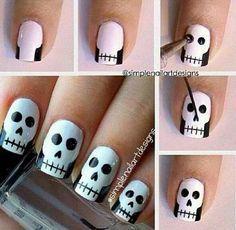 Skull nail design diy