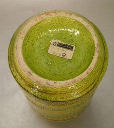 Mid Century Modern Rosenthal Netter Italy Bitossi Chartreuse Art Pottery Vase