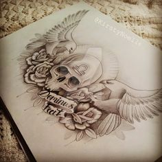 Skull, Eagle and Rose Chest Tattoo Design by kirstynoelledavies on ...