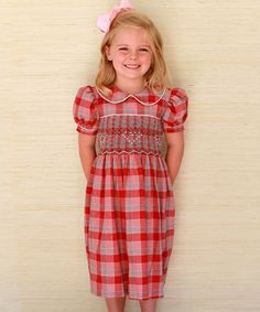 Love this Red & Gray Plaid Smocked Party Dress - Infant, Toddler & Girls on #zulily! #zulilyfinds