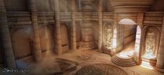 Inspiration for the High Temple? [Silvernai: library concept by ~noiprox] 3d Fantasy, Fantasy Places, Fantasy Setting, Fantasy World, Fantasy Art Landscapes, Fantasy Landscape, Environment Concept Art, Environment Design, Games Design