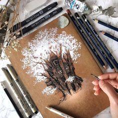 Tree Drawings Pencil, Realistic Pencil Drawings, Pencil Art, Art Drawings, Gift Drawing, Painting & Drawing, Tattoo Special, Mandala Tattoo Design, Widder Tattoos