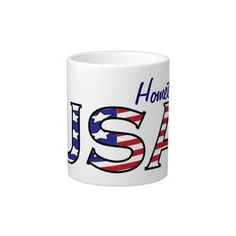 "USA Stars and Stripes Hometown Jumbo Mug - $23.95 - USA Stars and Stripes Hometown Jumbo Mug - by RGebbiePhoto @ zazzle - USA, done in the red white and blue of our American Flag! Stars and Stripes patterned letters spell out USA! ""Hometown USA"" design, Add your Hometown, Name, or Text to personalize!"