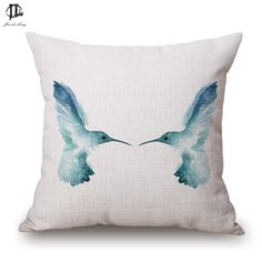 Lotus Birds Printed Throw Pillow Cases Home Hotel Cafe Decoration Sofa Car Seats 43*43CM Soft Cushion Covers Without Filler #Affiliate