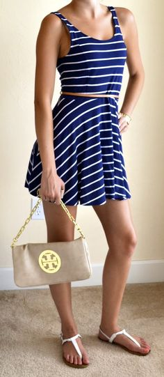 Outfit Posts: outfit post: navy and white dress, white sandals  I want those sandals!