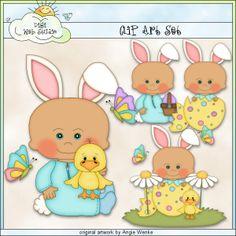 Easter Bunny Baby Boys 1 - Clip Art by Angie Wenke : Digi Web Studio, Clip Art, Printable Crafts & Digital Scrapbooking!