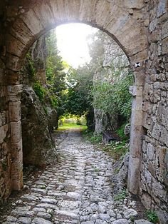 Saturnia via Clodia roman road and archway intact one of 4 gateways originally