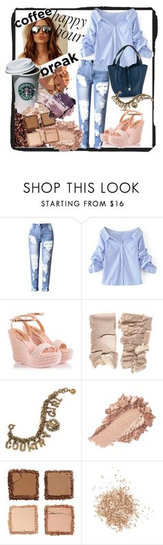 """""""Coffee break outfit"""" by inna-matlo ❤ liked on Polyvore featuring WithChic, Fratelli Karida, Sweet Romance, Urban Decay, Topshop and coffeebreak"""