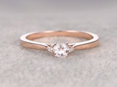 5mm Round Cut Morganite Engagement Ring Diamond Wedding Ring 14k Rose Gold Three Stone Design - BBBGEM