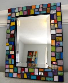 MOSAIC Stained Glass Beveled Mirror  Jewel by StarryNightStudios99, $45.00