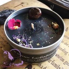 candle making business MYSTIC UNICORN Opium Enchantment Crystal Candle Intention:protection, healing, good luck, sleep, grounding Scent:Opium Crystal:Garnet Comes in tin jar with Fancy Candles, Diy Candles, Scented Candles, Velas Diy, Candle Making Business, Soap Making Supplies, Candle Magic, Homemade Candles, Candlemaking