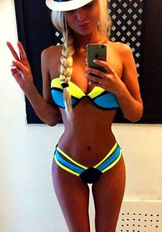 Blue Colorful Color Block 2-in-1 Cut Out Soft Push-up Brazilian Thong Sexy Swimwear