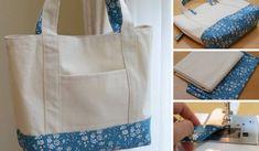 Aprende paso a paso cómo hacer un bolso de tela con este tutorial de forma facil. Handmade Desks, Fabric Handbags, Reusable Shopping Bags, Leather Flowers, Patchwork Bags, Bag Patterns To Sew, Little Bag, Sewing Hacks, Textiles