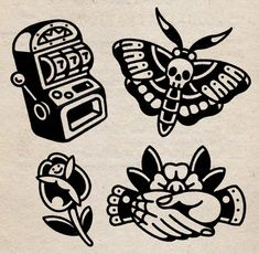 Time Tattoos, Flash Art Tattoos, Leg Tattoos, Black Tattoos, Body Art Tattoos, Traditional Black Tattoo, Traditional Tattoo Old School, Traditional Tattoo Design, Traditional Tattoo Flash Art