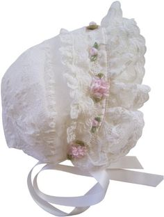 Ivory Lace and Pink Roses Baby Bonnet by brennanvintage on Etsy Baptism Gown Boy, Baby Baptism, Christening Gowns, Baby Bonnet Pattern, Baby Dress Patterns, Baby Sewing Projects, Baby Bonnets, Baby Doll Clothes, Heirloom Sewing