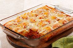 Ravioli Bake - it is pure delicious!!!    I only used 1 bag of Raviolis in a 9 x 13 and it worked out great and will feed a good amount of people.  Sheli