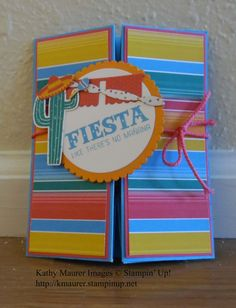 Box Card made with Stampin' Up!'s Birthday Fiesta Bundle. For details, go to my Wednesday, July 20, 2016 blog at http://kmaurer.stampinup.net