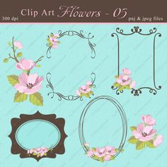 Floral Clip Art  Digital Flowers  Apple blossoms  by ArtDownload