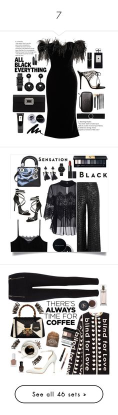 """7"" by nermin-zeynalova-200 ❤ liked on Polyvore featuring Marchesa, Bobbi Brown Cosmetics, Giuseppe Zanotti, Roger Vivier, Jo Malone, CHARLES & KEITH, Giorgio Armani, allblackoutfit, MANGO and Roland Mouret"