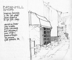 https://flic.kr/p/7bmbg7 | Florist's by Brownhill Roundabout Blackburn | By special request a drawing of Blackburn for Sleepy Valley, who lived there for 2 years and regretted never drawing there. Tiny unfinished sketch ( black lines not really so thick!), done in the car whilst husband nipped in for fish & chips, that old Lancashire stand-by, for our tea. Incredibly busy main road. Lorries and cars whizzing past my ear so close I kept jumping!!!