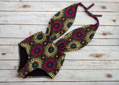 pre order* Swimsuit High Waisted 70's  Vintage Retro Style One Piece Bold Sunflower Floral Print - Cute Bathing Suit Swimwear!