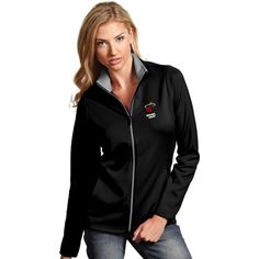 Antigua Women's Miami Heat Leader Black Full-Zip Fleece, Size: Medium, Team
