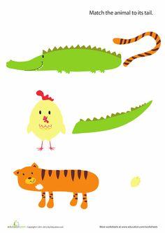 Worksheets: Animal Tails For Kids #2