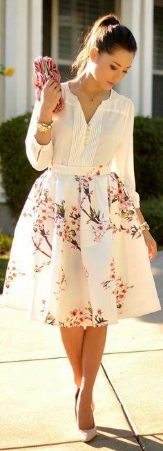 Sheinside White Multi Floral Print Full Midi A-skirt by Hapa Time