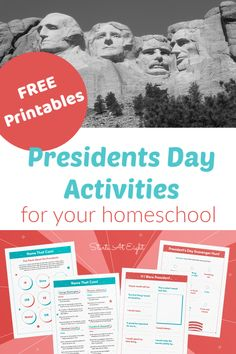 FREE Presidents Day Activities for your Homeschool from Starts At Eight Teaching Geography, World Geography, Teaching History, American History Lessons, Us History, Kids Education, History Education, Teaching Social Studies, Presidents Day