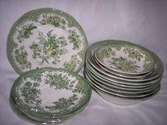 Wedgwood China England kent | Enoch Wedgwood Kent Green Bowls Plates Saucers Bone China 1942 ...