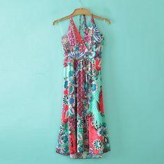 190947145751 Maxi Red Cyan Sleeveless Print Spandex Dresses  14.33