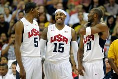 Kevin Durant Carmelo Anthony and Kobe Bryant of the US during a timeout at a pre-Olympic exhibition game against the Dominican Republic (AFP) Nike Flyknit, Nike Shox, Air Max 90, Nike Air Max, Kobe Bryant Nba, Usa Sports, Air Jordan Sneakers, Nike Tennis, Nike Leggings