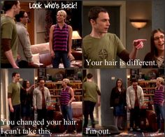 Big Bang Theory 8.1 Sheldon returns and does not like seeing that Penny cut her hair.
