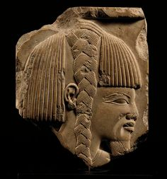 An Egyptian (Early Ptolemaic) Limestone Sculptor's Model Relief with a Libyan ca  300 BC