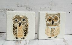 OWL II Original Encaustic Mixed Media Painting Vintage Paper Art