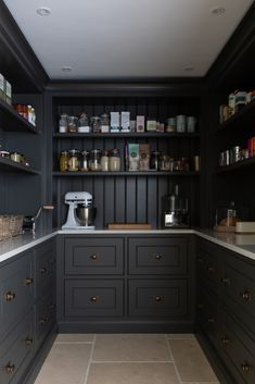 New walk in pantry - Felsted Showroom - finished in H Kitchen Pantry Design, Home Decor Kitchen, Interior Design Kitchen, Kitchen Furniture, Home Kitchens, Kitchen Organization Pantry, Pantry Ideas, Pantry Storage, Kitchen Storage